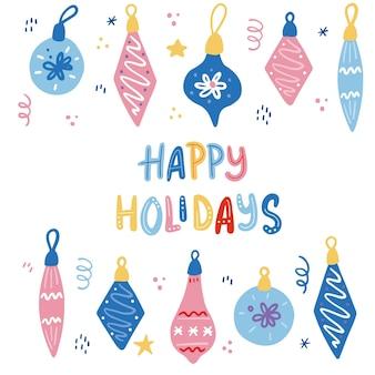 Set di palla di decorazione natalizia. illustrazione di stile disegnato a mano. vacanze invernali, natale, capodanno concetto. Vettore Premium