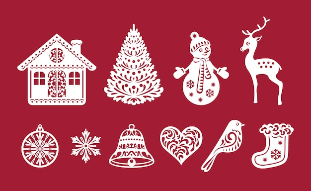 Set di decorazioni natalizie, modelli di taglio laser.