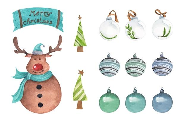 Set di decorazioni natalizie elementi ad acquerello su sfondo bianco