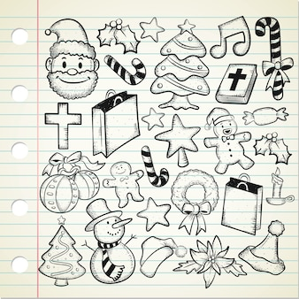 Set di doodle di natale
