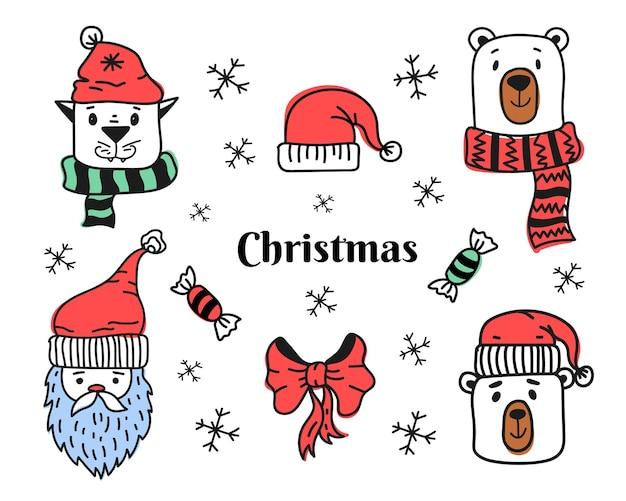 Set di scarabocchi natalizi con animali