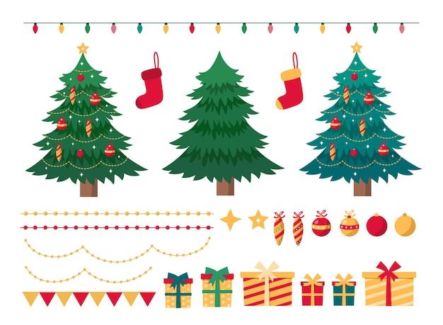 Set di elementi natalizi per il design festivo