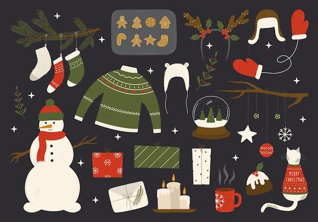Set di elementi natalizi calzini regali corna di cervo candele maglione vestiti decorazioni pupazzo di neve
