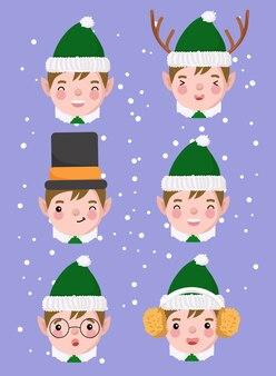 Set di espressione dell'elfo di natale isolato sulla porpora