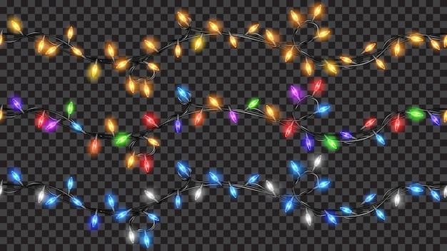Set di decorazioni natalizie, luci colorate traslucide
