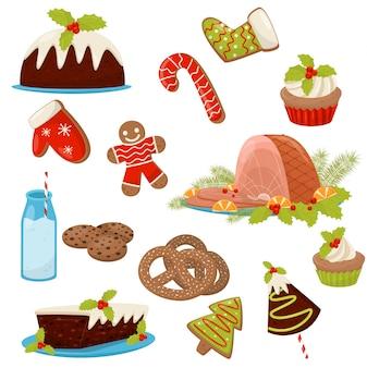 Set di cibi e bevande di natale. prosciutto appetitoso, torte fatte in casa, salatini, zucchero filato, latte, biscotti e cupcakes