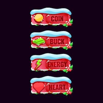 Set di barra del pannello cornice di natale per elementi di asset gui
