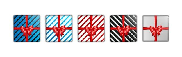 Set di modello di scatola regalo di natale
