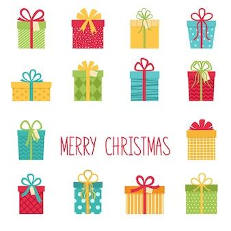 Set di scatole regalo di natale. buon natale e felice anno nuovo. illustrazione vettoriale
