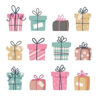 Set di regali di natale, regali di capodanno, scatole regalo con nastri, illustrazione in stile piano