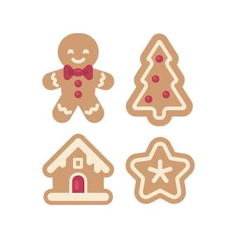 Set di icone di pan di zenzero di natale. illustrazione piana dell'uomo, della casa, dell'albero e della stella. divertente cibo per le vacanze