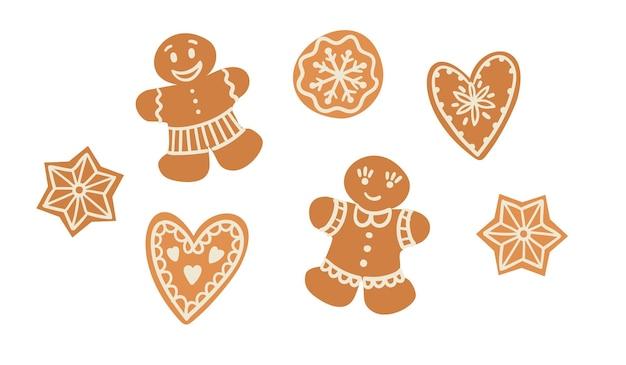 Set di pan di zenzero di natale. illustrazione vettoriale. elemento di design
