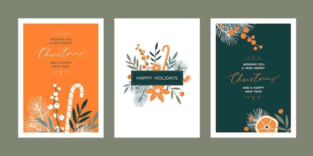 Set di modelli di biglietti di auguri di natale con elementi floreali e calligrafia scritta a mano