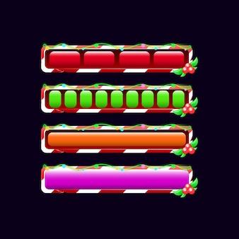 Set di barra di avanzamento caricamento gui natalizio in vari colori e stile