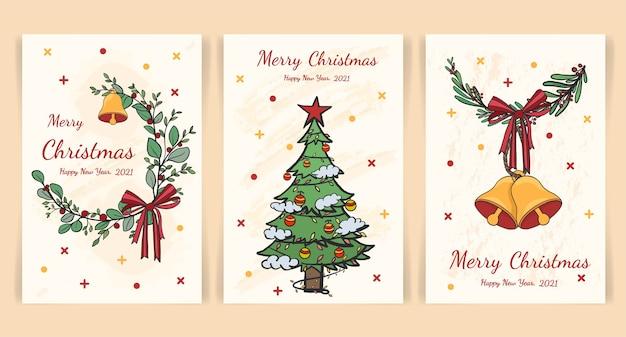 Set di modelli di carta di natale e felice anno nuovo, stile disegnato a mano.