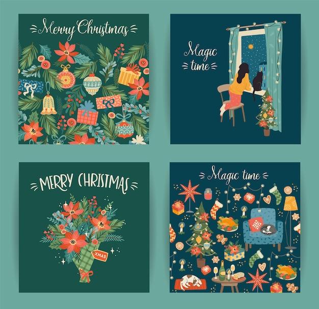 Set di carte di natale e felice anno nuovo con simboli natalizi, dolce casa, donne
