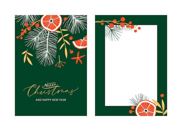 Set di modelli di carte floreali di natale e felice anno nuovo con calligrafia manoscritta. stile vintage alla moda.