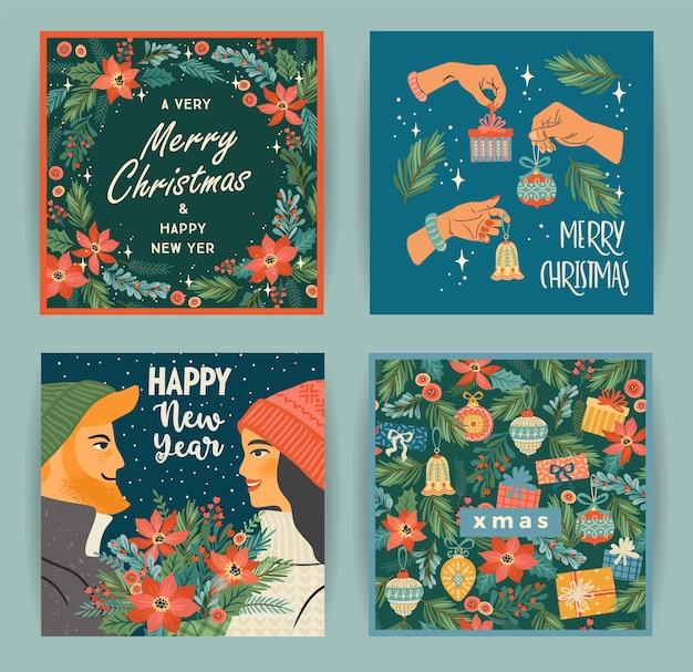 Set di illustrazioni di natale e felice anno nuovo con personaggi e simboli natalizi