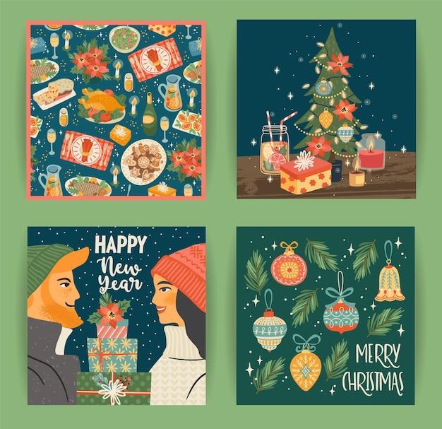 Insieme delle illustrazioni di natale e felice anno nuovo con simboli di natale giovane ragazzo e ragazza