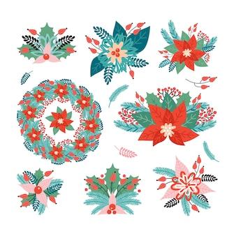 Impostare disposizioni per le vacanze di natale fatte di elementi decorativi vegetali. buon natale e felice anno nuovo. poinsettia, aghi, fiori, foglie, bacche, ramo di abete rosso. illustrazione in stile retrò