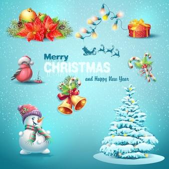 Una serie di articoli natalizi, albero di natale, lanterne, caramelle, giocattoli