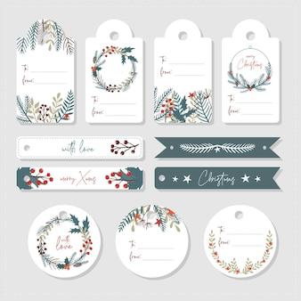 Set di etichette e cartellini natalizi