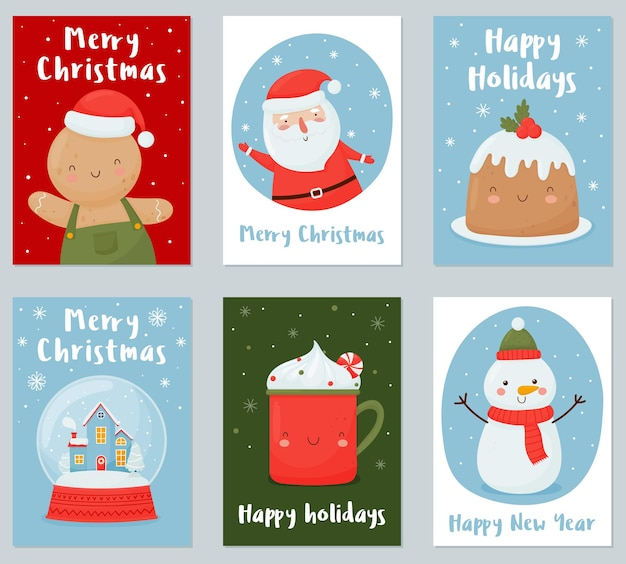 Set di biglietti di auguri di natale e capodanno con divertenti personaggi natalizi.