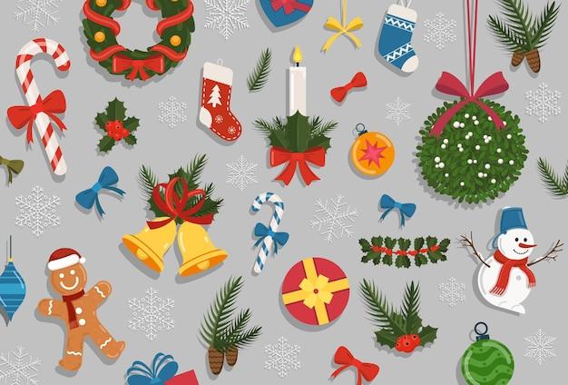 Set di natale. collezione di elementi di decorazione per le vacanze di capodanno
