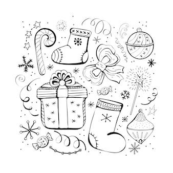 Set di icone di natale e capodanno inverno. caramelle, regali, fiocchi di neve, stivali, fiocco, giocattoli di natale, serpentino, ghirlanda. insieme monocromatico disegnato a mano, insieme in bianco e nero.