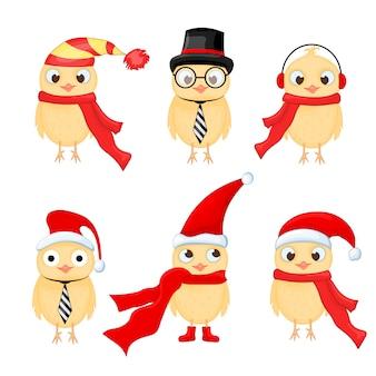 Set di gufi natalizi con varie emozioni