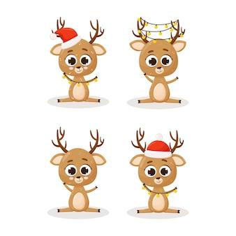 Set di renne di natale. set di simpatici personaggi natalizi