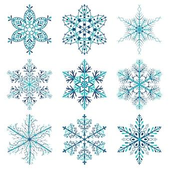 Set di fiocchi di neve di natale, colorati su sfondo bianco