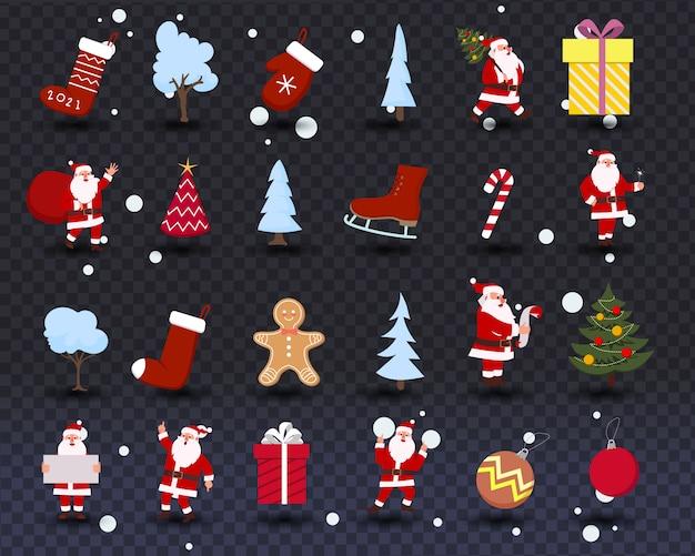 Set di simboli, icone, elementi e decorazioni natalizie. collezione invernale con illustrazione di babbo natale isolato su sfondo trasparente.