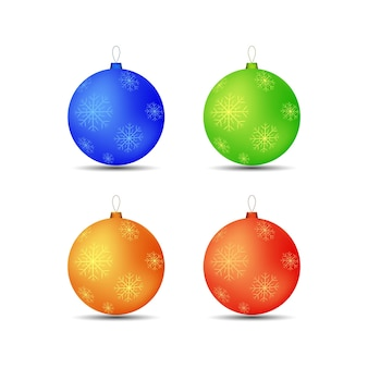Set di fiocchi di neve di palle di giocattoli di natale in diversi colori.
