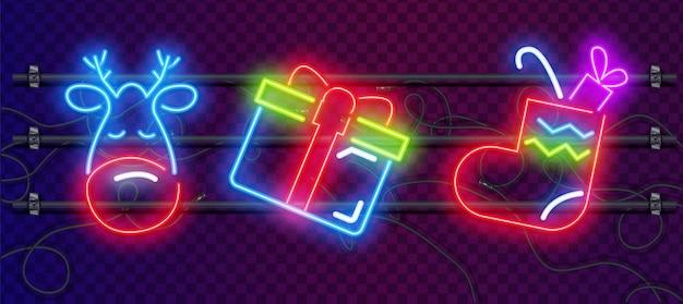 Set di giocattoli di natale e decorazioni colorate insegne al neon