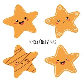 Set di biscotti tradizionali natalizi a forma di stelle con il testo merry christmas vector ill