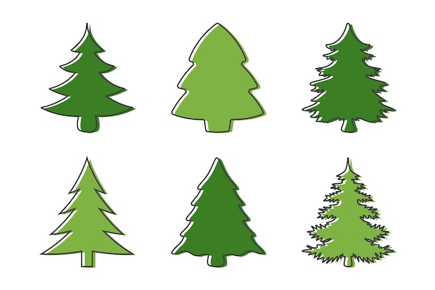 Insieme di elementi di design dell'albero di natale
