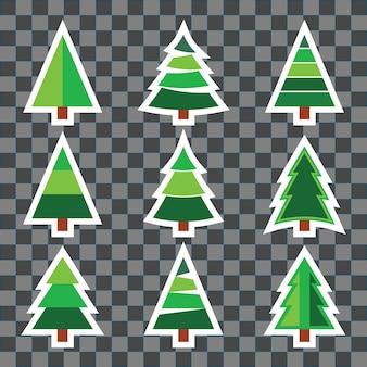 Set di adesivi per alberi di natale su sfondo trasparente per inviti di capodanno o natale, biglietti di auguri, volantini, copertine di brochure o altri tipi di carattere. illustrazione vettoriale.