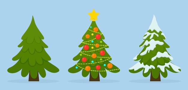 Insieme di alberi di natale in diverse situazioni. palline colorate, luci ghirlande, neve.