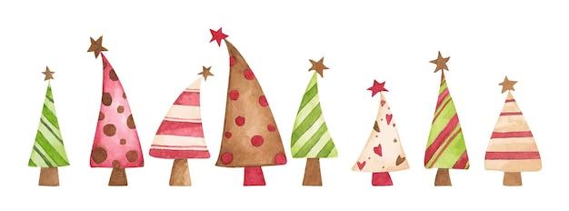 Set di alberi di natale poster natalizio con simboli natalizi illustrazione ad acquerello