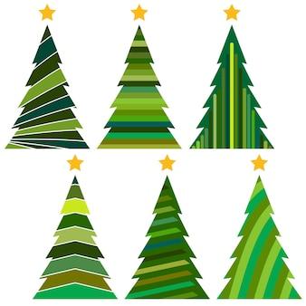 Insieme degli alberi di natale. illustrazione vettoriale isolato per buon natale e felice anno nuovo.