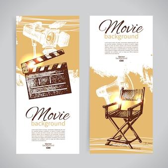 Set di striscioni cinematografici con illustrazioni di schizzo disegnate a mano