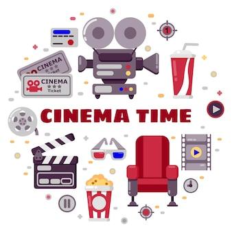 Insieme di elementi di design del cinema