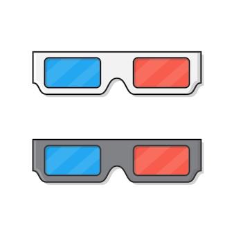 Set di bicchieri di cinema isolato su bianco