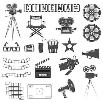 Set di icone del cinema Vettore Premium