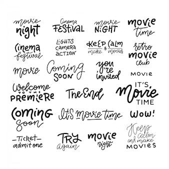 Set di cinema, film, scarabocchi di film e scritte alla moda su bianco