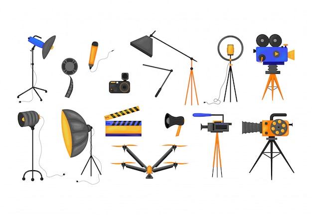 Insieme dell'illustrazione delle icone di film e di film di cinematografia isolata su fondo bianco