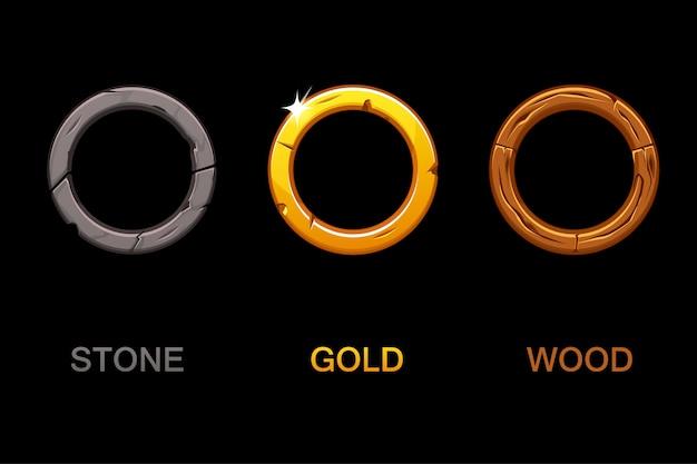 Set di icone di app circle, cornici di texture isolati su sfondo nero, elementi per il gioco dell'interfaccia utente o il web design