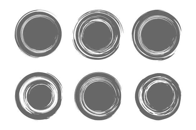 Set di pennellate circolari, cornice di vernice disegnata a mano per logo di design, banner, carta. illustrazione vettoriale isolato su sfondo bianco.