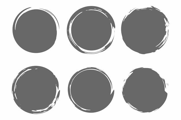 Set di pennellate circolari disegnate a mano cornice di vernice per carta banner logo design